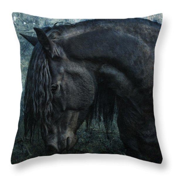 Frisian stallion Throw Pillow by Joachim G Pinkawa