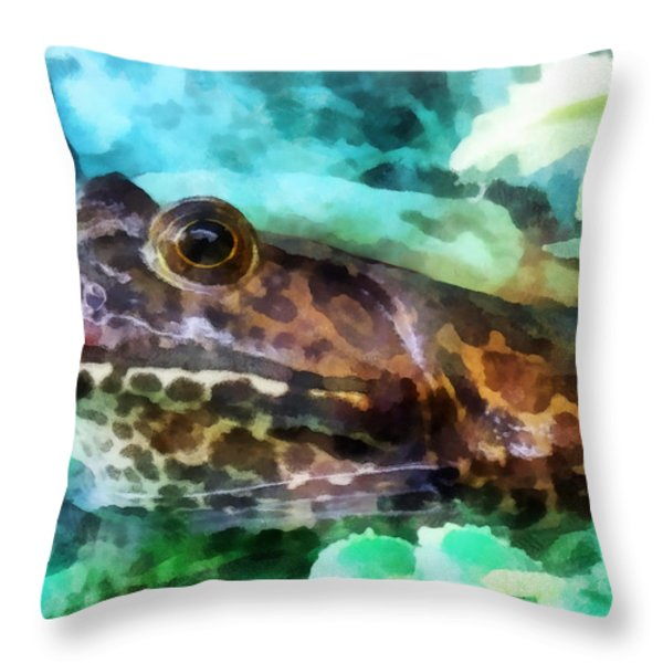 Frog Ready To Be Kissed Throw Pillow by Susan Savad