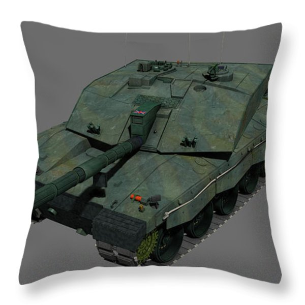 Front View Of A British Challenger II Throw Pillow by Rhys Taylor