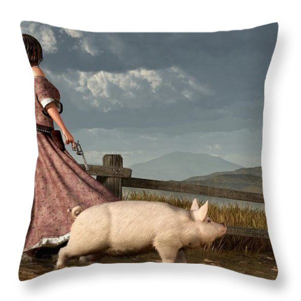 Frontier Widow Throw Pillow by Daniel Eskridge