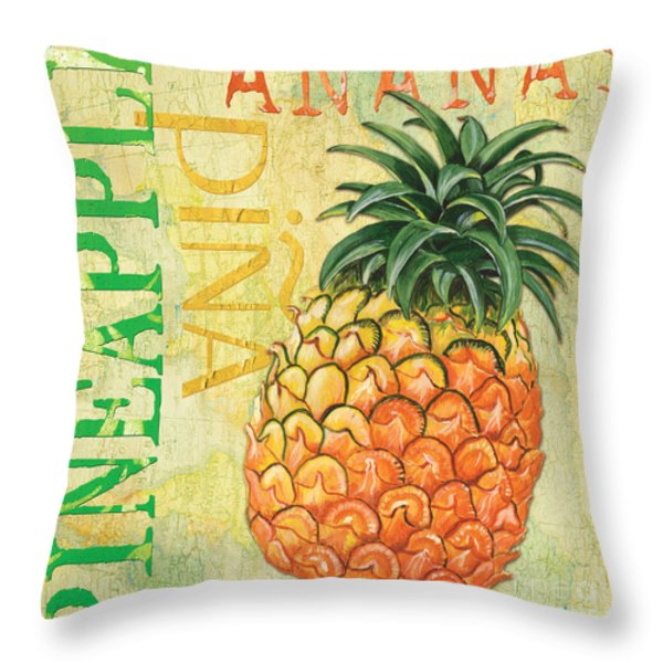 Froyo Pineapple Throw Pillow by Debbie DeWitt