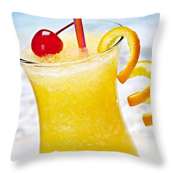 Frozen Tropical Orange Drink Throw Pillow by Elena Elisseeva
