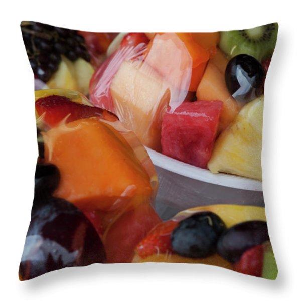 Fruit Cup Throw Pillow by Lorraine Devon Wilke