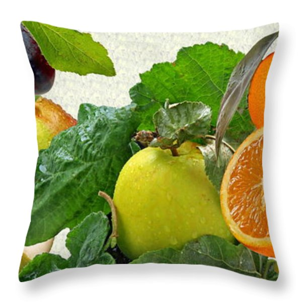 Fruit Day Throw Pillow by Manfred Lutzius