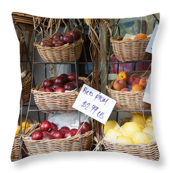 Fruit For Sale Throw Pillow by Clarence Holmes