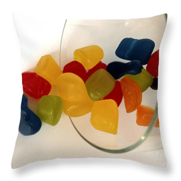 Fruit Gummi Candy Throw Pillow by Cheryl Young