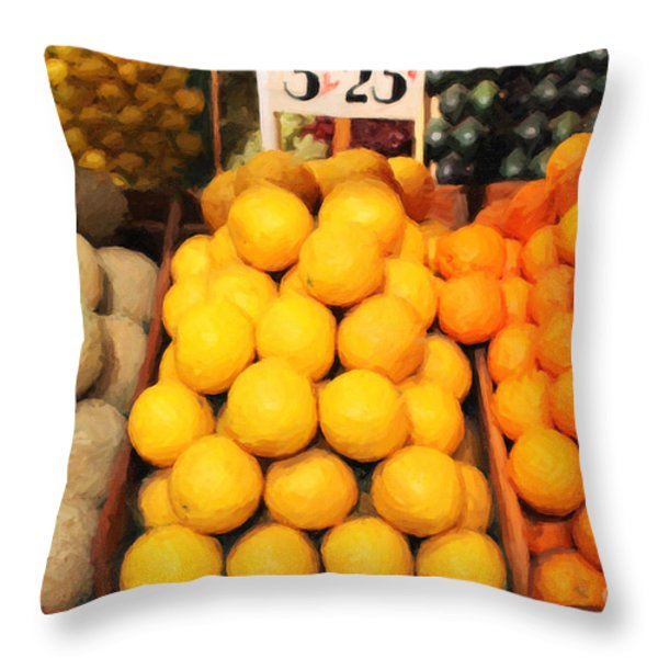 Fruit Market - Painterly - 7D17401 Throw Pillow by Wingsdomain Art and Photography