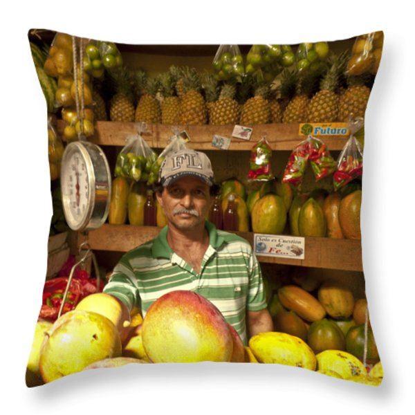 Fruit Market Stand Throw Pillow by Heiko Koehrer-Wagner