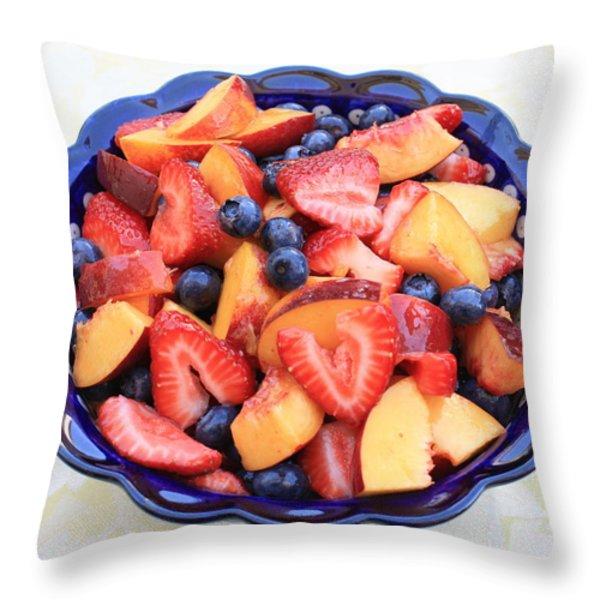 Fruit Salad in Blue Bowl Throw Pillow by Carol Groenen