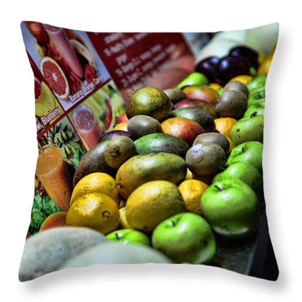 FRUIT STAND Throw Pillow by Paul Ward