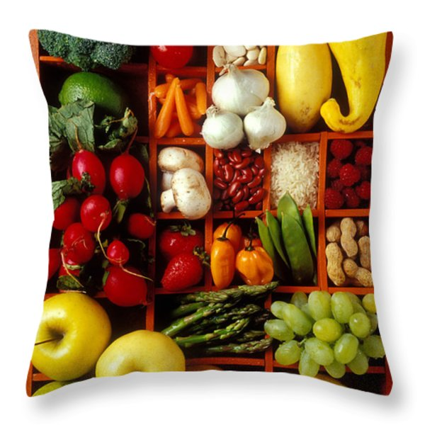Fruits and vegetables in compartments Throw Pillow by Garry Gay