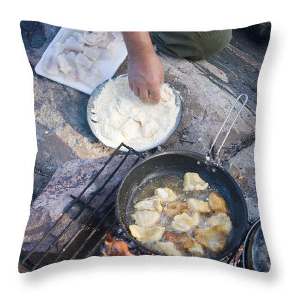 Frying Walleye Fish Fillets Throw Pillow by Skip Brown