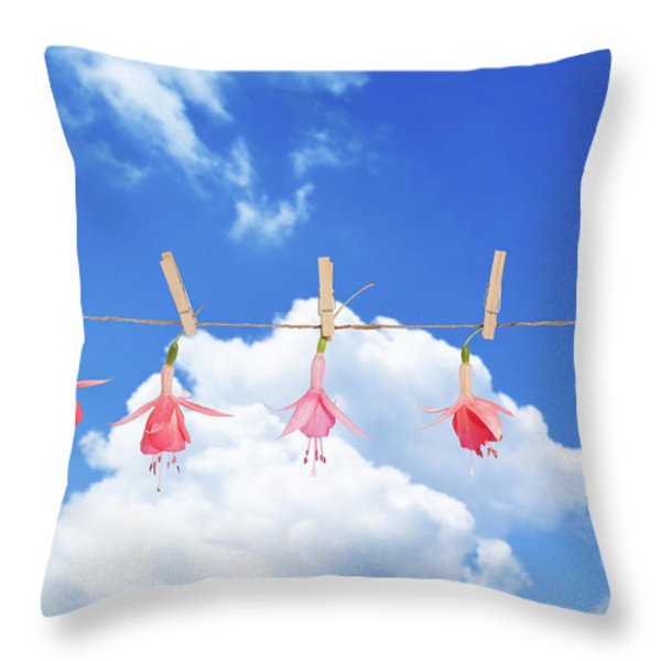 Fuchsia Blooms Throw Pillow by Amanda And Christopher Elwell