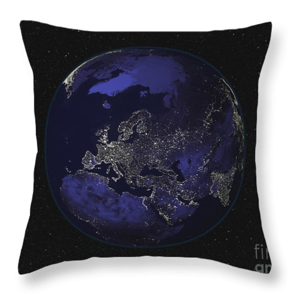 Full Earth At Night Showing City Lights Throw Pillow by Stocktrek Images