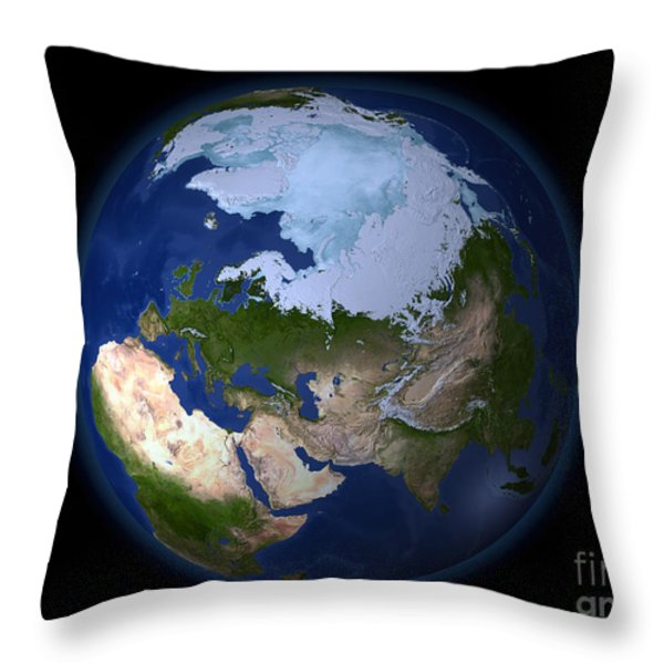Full Earth Showing The Arctic Region Throw Pillow by Stocktrek Images