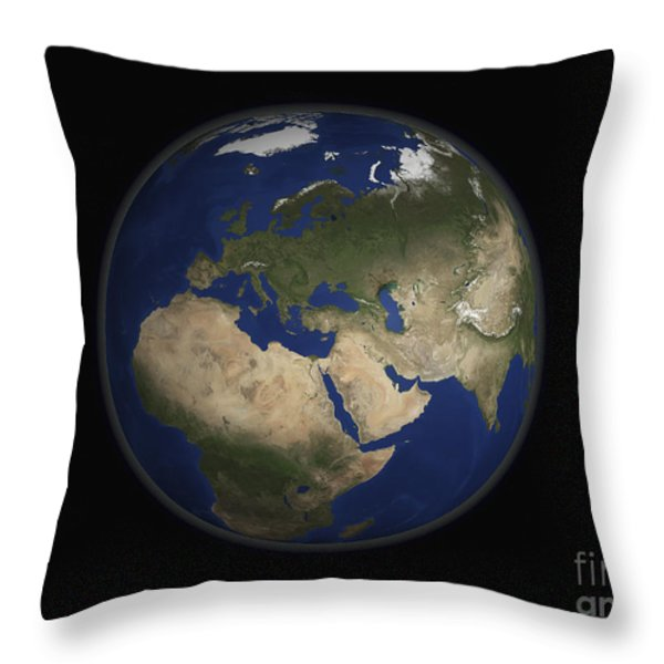 Full Earth View Showing Africa, Europe Throw Pillow by Stocktrek Images