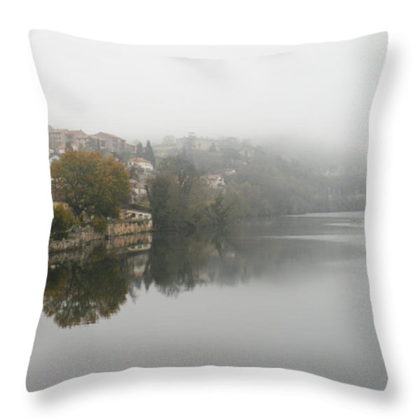 Fumel On A Misty Day Throw Pillow by Nomad Art And  Design