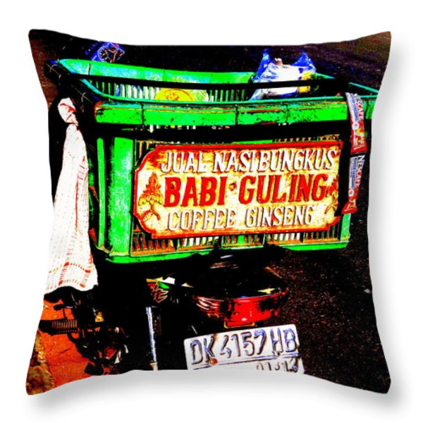 Funky Balinese Motorbike Throw Pillow by Funkpix Photo Hunter