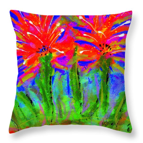 Funky Flower Towers Throw Pillow by Angela L Walker