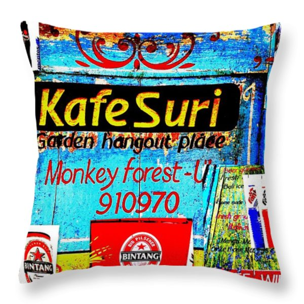 Funky Kafe Suri in Bali Throw Pillow by Funkpix Photo Hunter