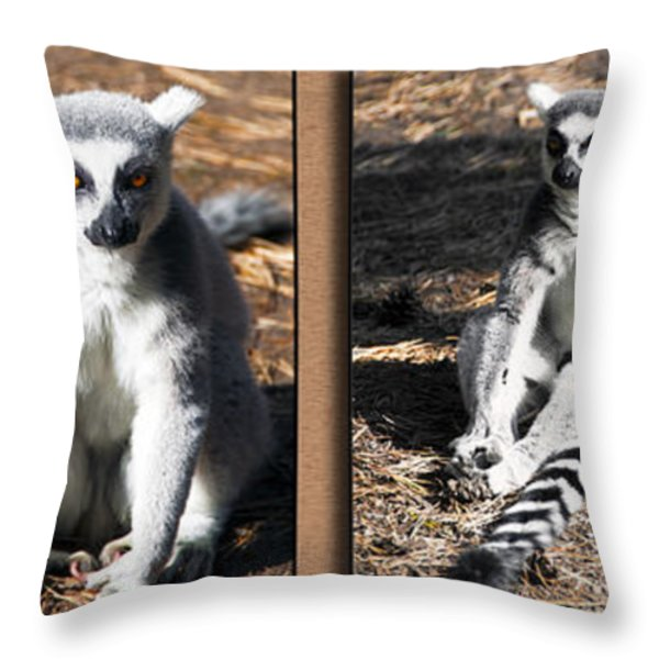Funny Lemurs Throw Pillow by Svetlana Sewell