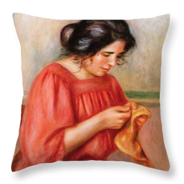 Gabrielle Darning Throw Pillow by Pierre Auguste Renoir