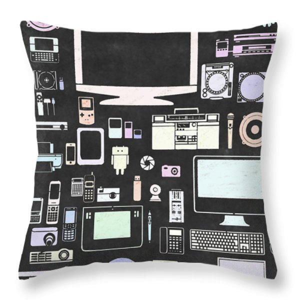 gadgets icon Throw Pillow by Setsiri Silapasuwanchai