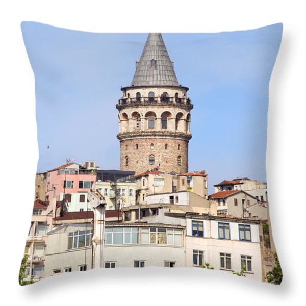 Galata Tower in Istanbul Throw Pillow by Artur Bogacki