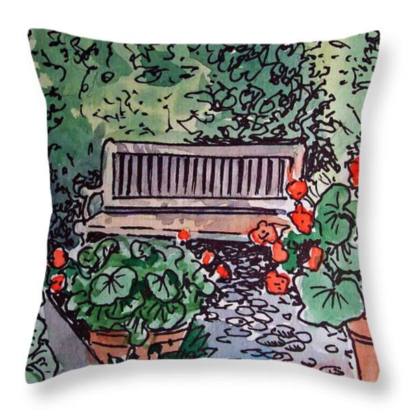 Garden Bench Sketchbook Project Down My Street Throw Pillow by Irina Sztukowski