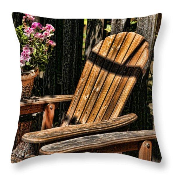 Garden Chairs Throw Pillow by Bonnie Bruno