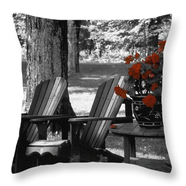 Garden Chairs With Red Flowers In A Pot Throw Pillow by David Chapman