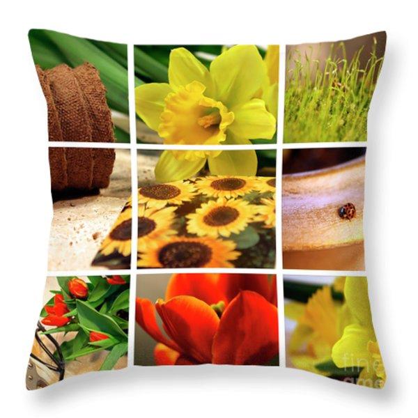 Garden collage Throw Pillow by Sandra Cunningham