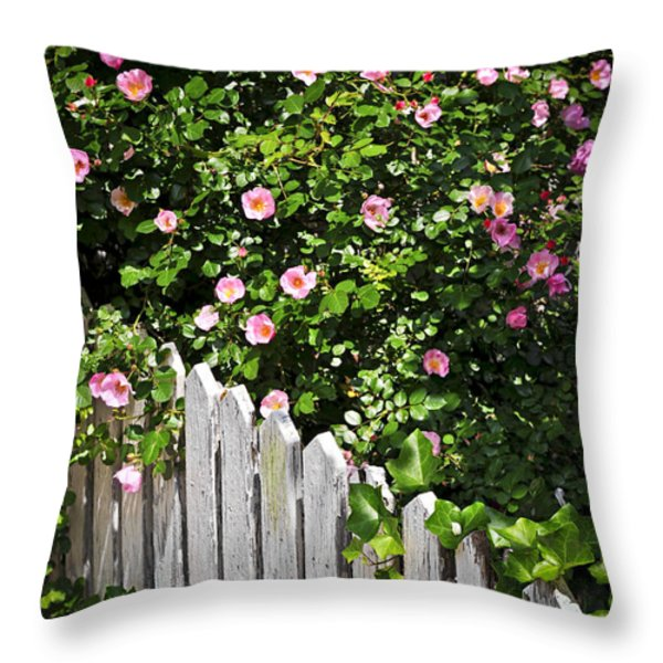 Garden fence with roses Throw Pillow by Elena Elisseeva