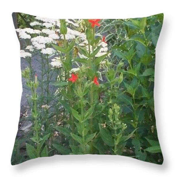Garden Flowers Mix  In Nature Throw Pillow by Thelma Harcum