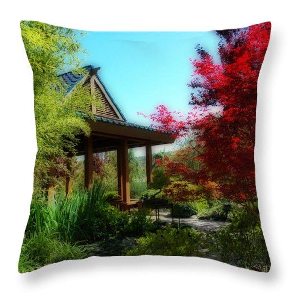 Garden Retreat Throw Pillow by Lynn Bauer