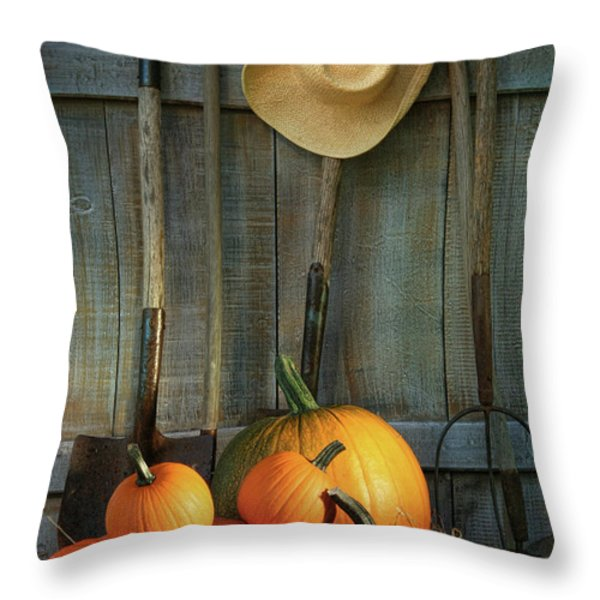 Garden Tools In Shed With Pumpkins Throw Pillow by Sandra Cunningham