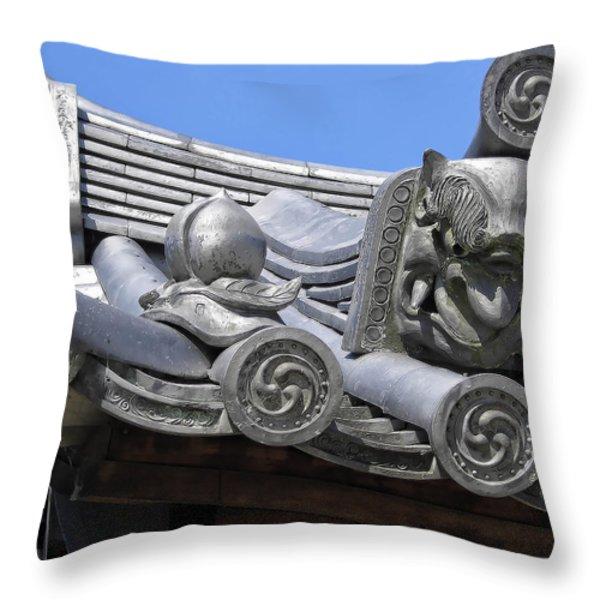 Gargoyles Of Horyu-ji Temple - Nara Japan Throw Pillow by Daniel Hagerman