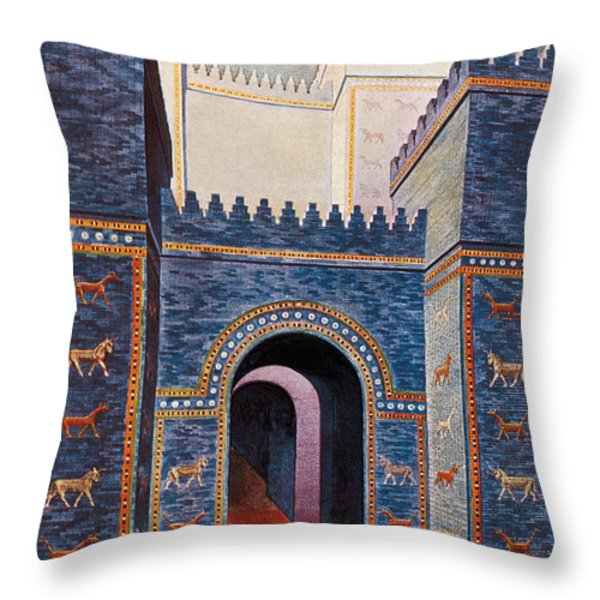 Gate Of Ishtar, Babylonia Throw Pillow by Photo Researchers