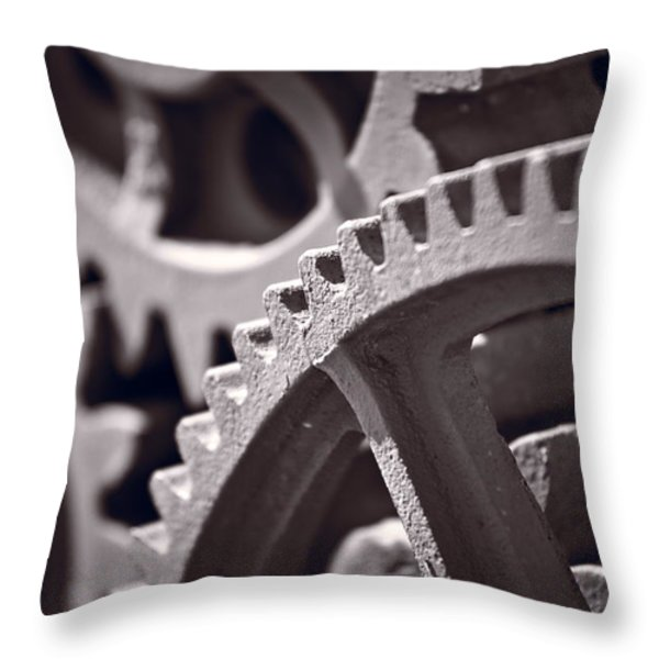 Gears Number 3 Throw Pillow by Steve Gadomski