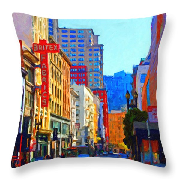 Geary Boulevard San Francisco Throw Pillow by Wingsdomain Art and Photography