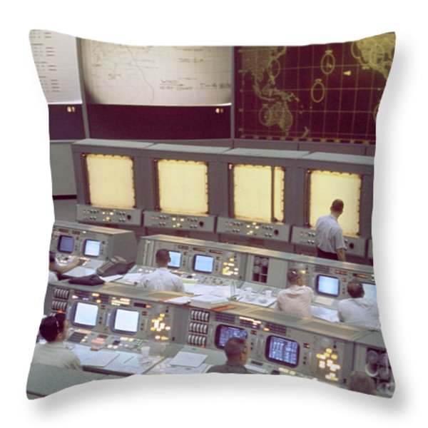 Gemini Mission Control Throw Pillow by Nasa/Science Source
