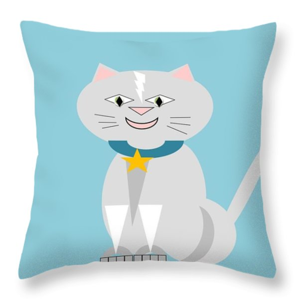 Geo Smiley Cat Throw Pillow by Maria Urso