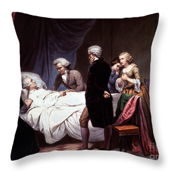 George Washington On His Death Bed Throw Pillow by Photo Researchers