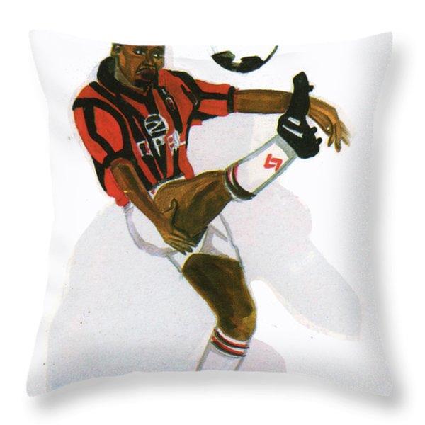 George Weah In Action Throw Pillow by Emmanuel Baliyanga
