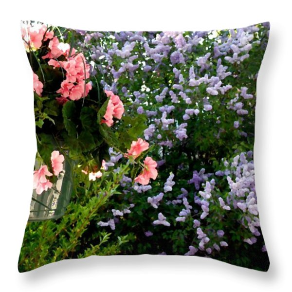 Geranium And Lilac Painting Throw Pillow by Will Borden