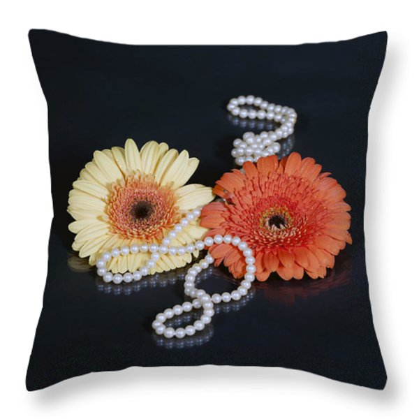 gerberas with pearls Throw Pillow by Joana Kruse