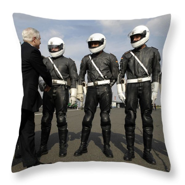 German Motorcycle Police Shake Hands Throw Pillow by Stocktrek Images