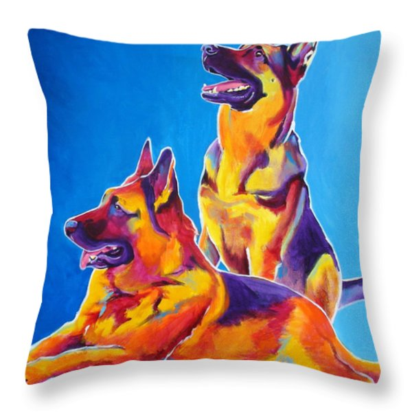 German Shepherd - Eiko And Erin Throw Pillow by Alicia VanNoy Call