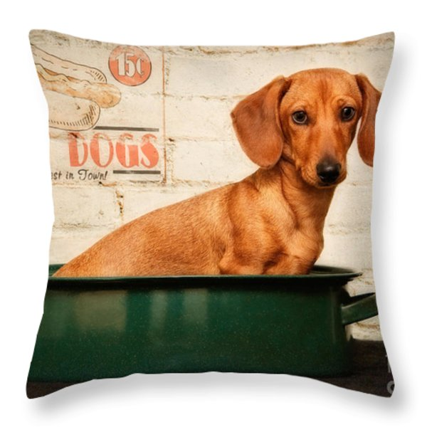 Get Your Hot Dogs Throw Pillow by Susan Candelario