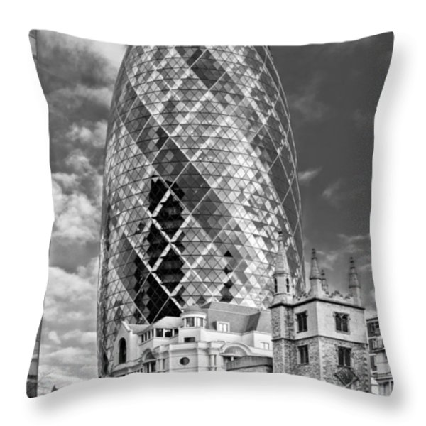 Gherkin and St Andrew's black and white Throw Pillow by Gary Eason